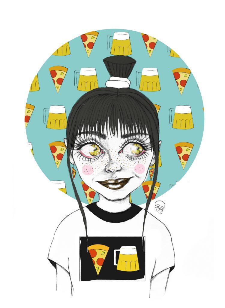 Pizza and beer staminamandarina ilustración Sara Sánchez